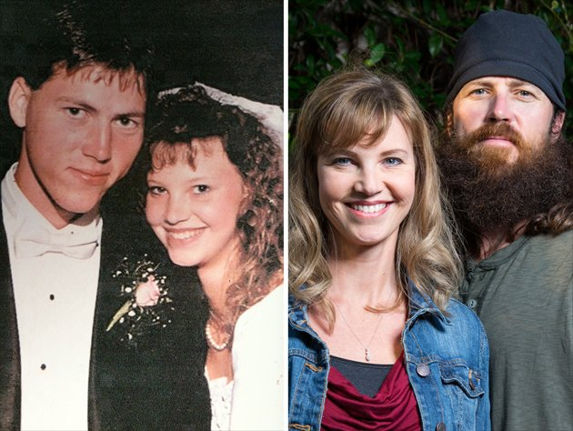 Left: Jase and Missy pose for a photo on their wedding day.
