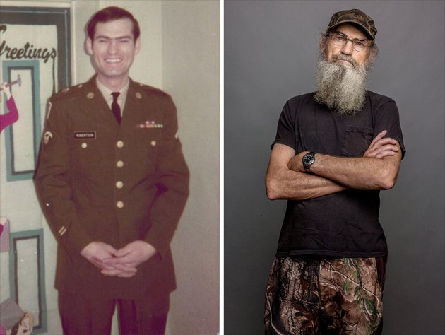 Left: Get a load of Uncle Si sans specs and beard! Didn't he look