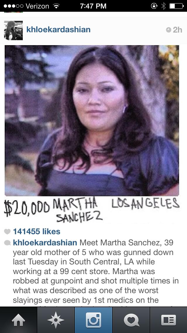 khloe kardashian-martha sanchez donation