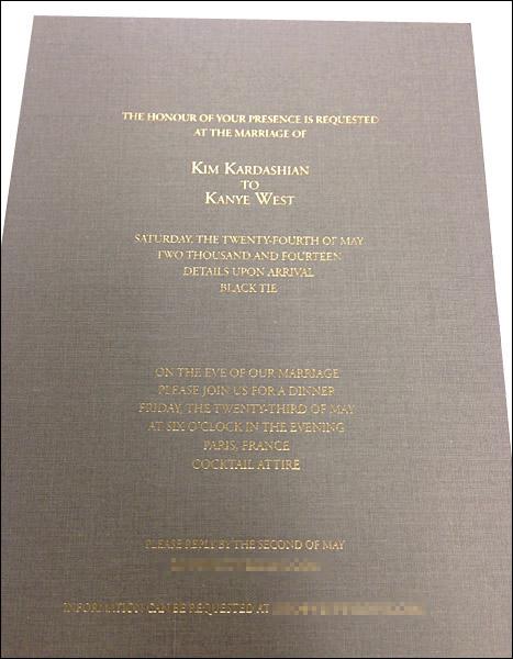 kim kardashian kanye west wedding invite