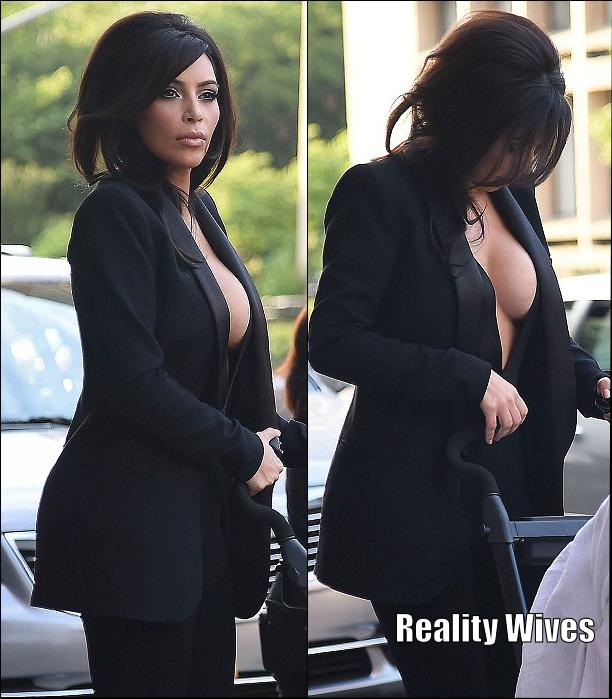 Kim Kardashian West Skips Bra Wears Cleavage Baring Suit To Dinner