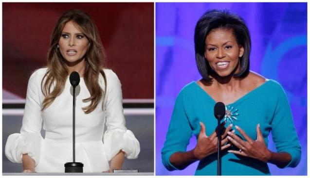 Melania Trump at the RNC & Michelle Obama at the DNC 2008