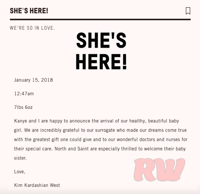 Kim Kardashian & Kanye West Welcome Baby Girl