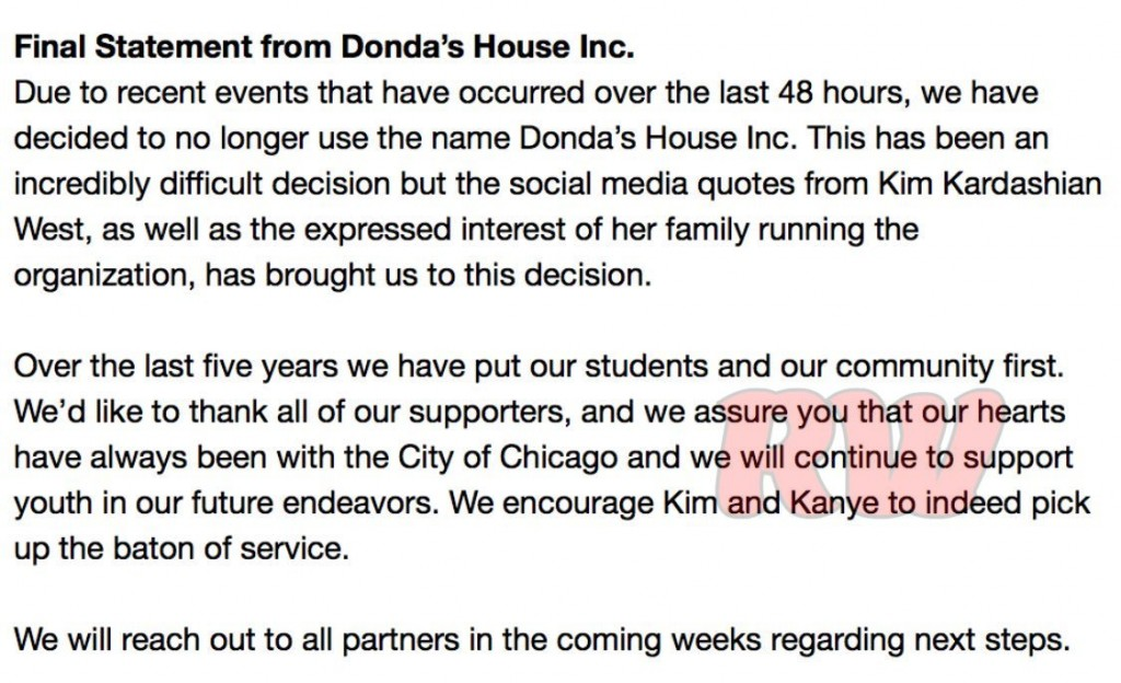 final donda's house statement
