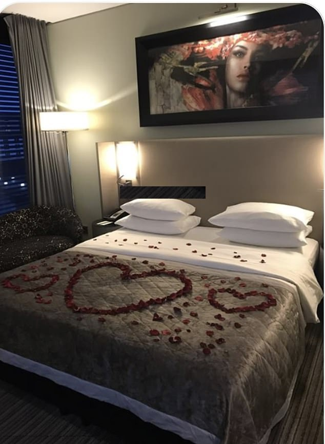In October 2017, they met again at a museum in Stuttgart, Germany before flying on his private jet to Dusseldorf, where they had sex in a rose petal-covered bed at the Hyatt Hotel