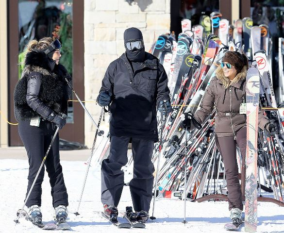 skiing kim kardashian kanye west kouttney