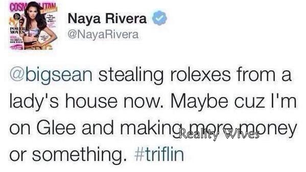 naya rivera-tweet-rolex-rw
