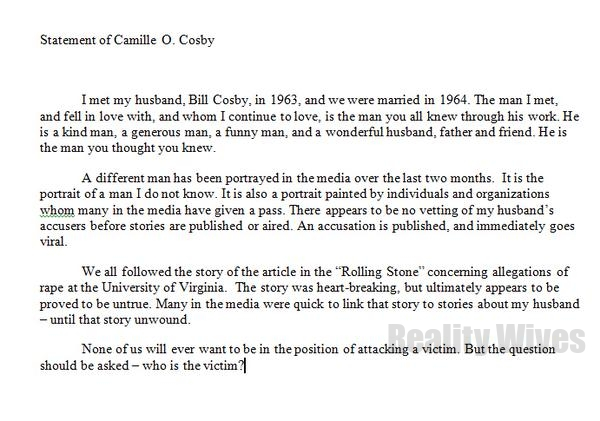 Camille Cosby-statement
