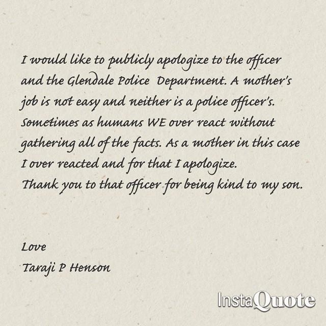 Taraji P Henson-apology