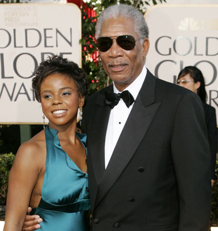 E'Dena Hines & Morgan Freeman at the 62nd annual Golden Globe Awards show