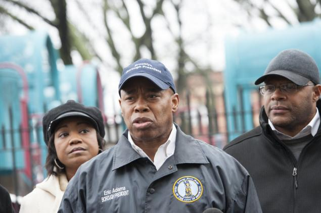Brooklyn Borough President Eric Adams (c.) is questioning why the NYPD were so slow to respond to the report of an 18-year-old girl being raped at Osborn Playground on Thursday.