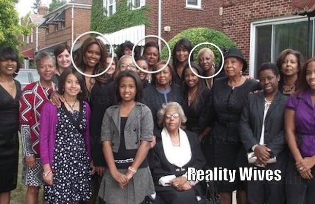 Kenya Moore at a family member's funeral, circled are Kenya, her mother Patricia Moore & Aunt Lori Moore