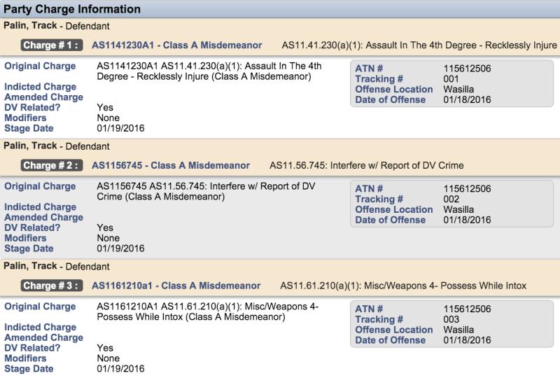 Track Palin-arrest record