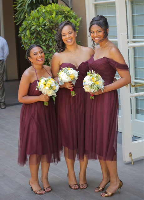 Tatyana's bridesmaids - sisters, left & right & a friend, center.