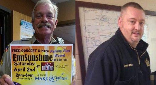 Sebastian County Deputy Bill Cooper (left)  was killed & Hackett Police Chief Darrell Spells (right)