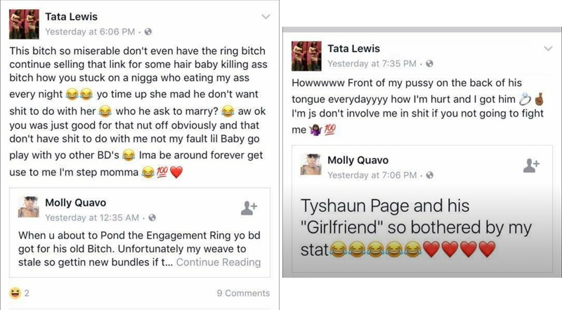 Facebook posts between the deceased (Tata Lewis) and the killer (Molly Quavo).
