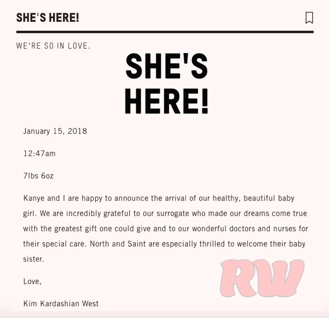Kim Kardashian-birth announcement