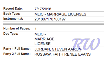 Stevie J-Faith Evans-marriage license