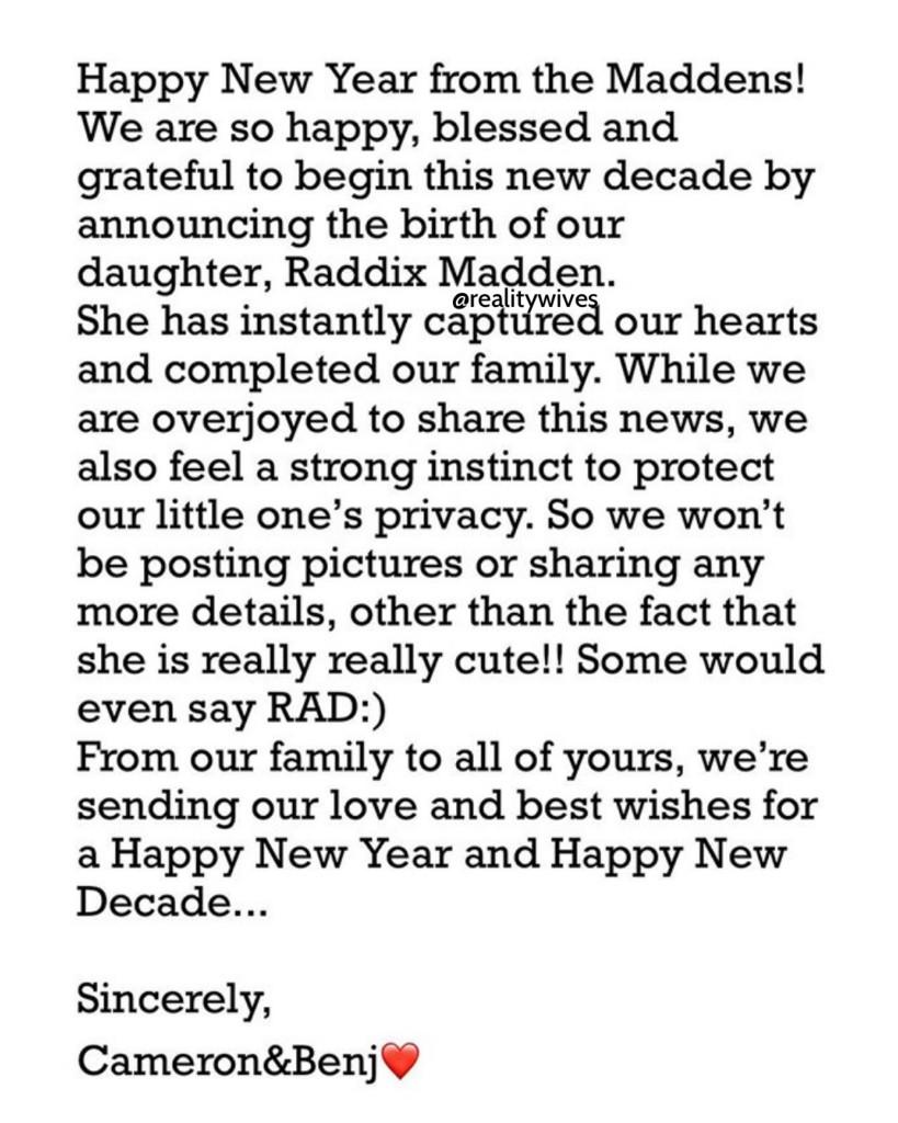 Cameron Diaz-Benjamin Madden-birth announcement